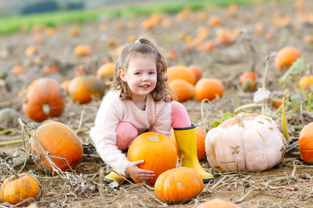 Adorable little kid girl having fun on pumpkin patch. Banco de Imagens