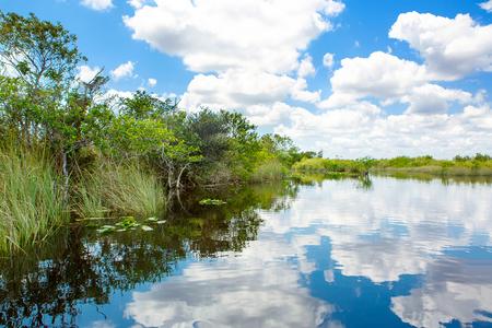 Florida wetland, hovercraft op het Everglades National Park in de Verenigde Staten Stockfoto - 87601495