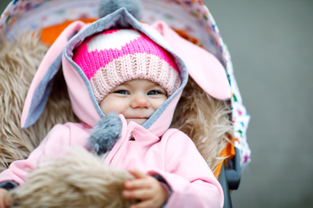 Cute little beautiful baby girl sitting in the pram or stroller on autumn day
