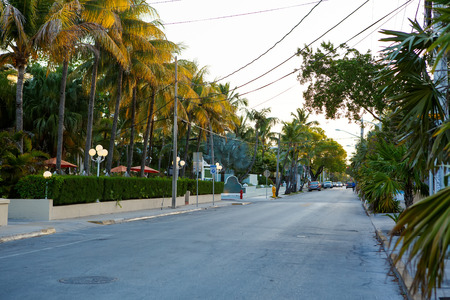 The historic and popular center and Duval Street in downtown Key West.
