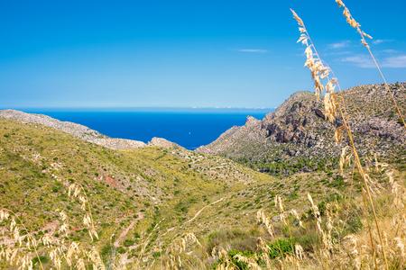 Island scenery, seascape of Mallorca Spain. Idyllic coastline of Majorca, Mediterranean Sea on sunny day