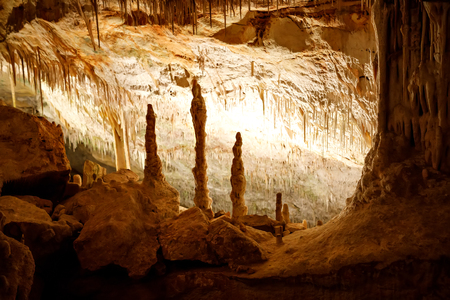 Dragon caves on Majorca, Spain. Beautiful nature caves on Mallorca, Balearic island. Popular tourist destination Фото со стока