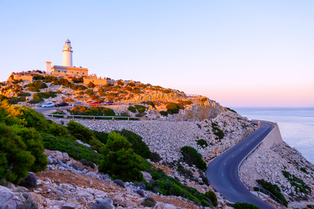 Lighthouse at Cape Formentor in the Coast of North Mallorca, Spain ( Balearic Islands ). Stock Photo