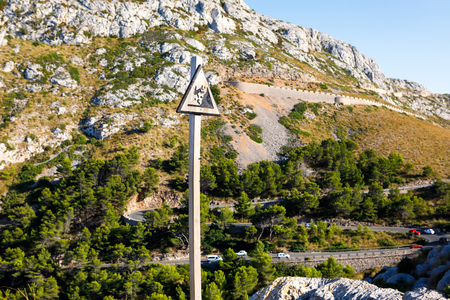 Sa Calobra Road, one of the most scenic, dangerous and spectacular roads in the world, famous for turns of up to 360 degrees. Majorca (Mallorca), Baleraic Islands, Spain