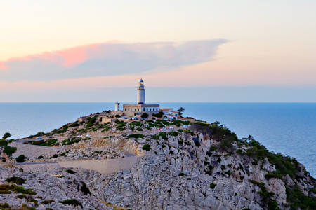 Lighthouse at Cape Formentor in the Coast of North Mallorca, Spain ( Balearic Islands ). 写真素材