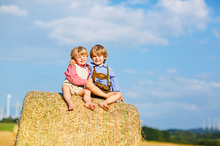 Two little kid boys, twins and siblings sitting on warm summer day on hay stack 写真素材