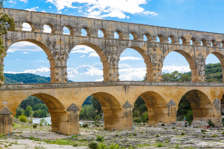 Pont du Gard, an old Roman aqueduct near Nimes in Southern Franc Stock Photo