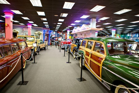 MIAMI, FLORIDA USA - APRIL 11 2016: Miami Auto Museum exhibits a collection of vintage and cinema automobiles, bicycles and motorcycles on April 11, 2016 in Miami, Florida, USA Editorial