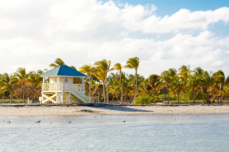 Beautiful Crandon Park Beach located in Key Biscayne in Miami, Florida, USA. Palms, white sand and security house Stock Photo