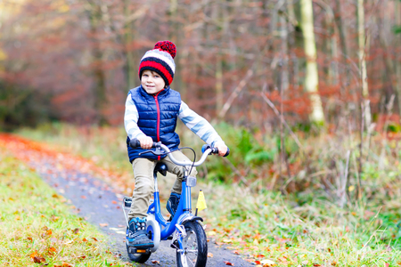 Little kid boy in colorful warm clothes in autumn forest park driving a bicycle