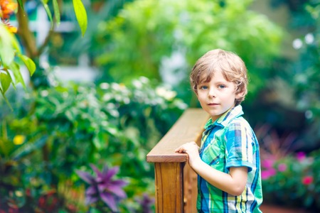 Little blond preschool kid boy discovering flowers, plants and butterflies at botanic garden. Schoolchild interested in biology. Active educational leisure with preschool kids in museum