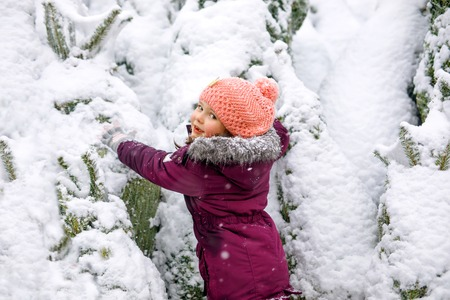 Cute little smiling kid girl shopping on christmas tree market. Happy child in winter clothes holding and choosing xmas tree on xmas market with lights on background on winter snow day.