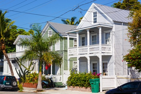 KEY WEST, FLORIDA USA - APRIL 13, 2015: The historic and popular center and Duval Street in downtown Key West. Beautiful small town in Florida, United States of America.