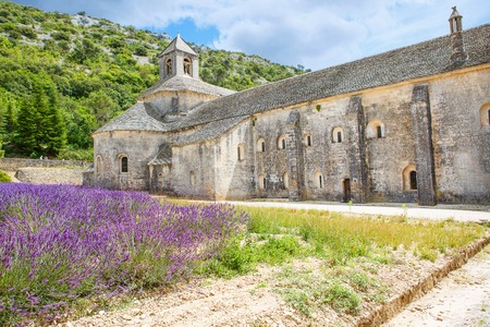 Abbey of Senanque and blooming rows lavender flowers. Gordes, Luberon, Vaucluse, Provence, France, Europe..