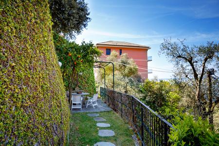 Colorful houses of Liguria region in Italy. Awesome village of Zoagli, Cinque Terre and Portofino. Beautiful breathtaking Italian city on riviera of Mediterranean Sea