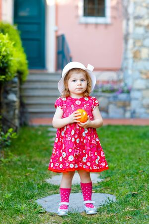 Portrait of beautiful little gorgeus lovely toddler girl in pink summer look clothes, fashion dress, knee socks and hat. Happy healthy baby child infront of colorful house holding orange in hands Foto de archivo - 129325348