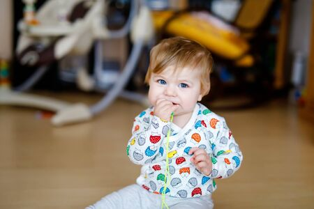 Gorgeous cute beautiful little baby girl playing with educational toys at home or nursery. Happy healthy child learning crawling and standing. Foto de archivo - 129325350
