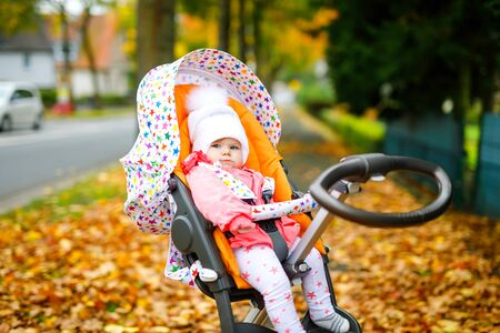 Cute little beautiful baby girl sitting in the pram or stroller on autumn day. Happy healthy child going for a walk on fresh air in warm clothes. Baby with yellow fall maple trees in colorful clothes Foto de archivo - 129325461