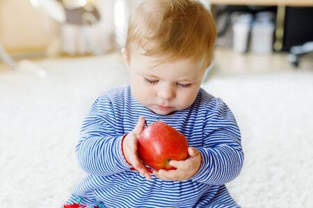 Little adorable baby girl eating big red apple Foto de archivo - 129325558