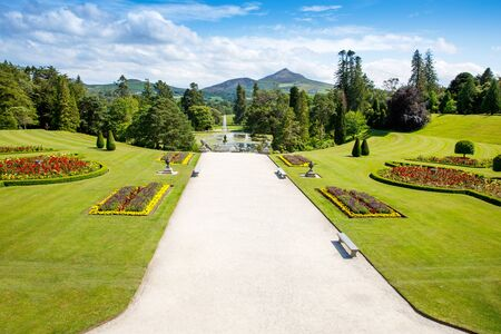 Powerscourt House at Powerscourt Garden. Panoramic view. Its one of leading tourism attractions in Enniskerry, Ireland
