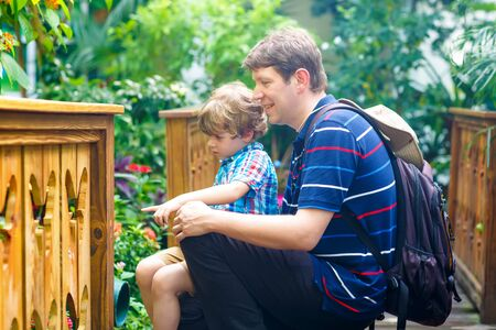Father and preschool kid boy discovering flowers, plants and butterflies at botanic garden. Family, young man and son interested in biology. Active educational leisure with preschool child in museum