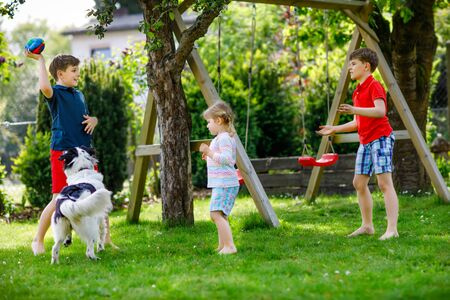 Two kids boys and little toddler girl playing with family dog in garden. Three children, adorable siblings having fun with dog. Happy family outdoors. Friendship between animal and kids Reklamní fotografie