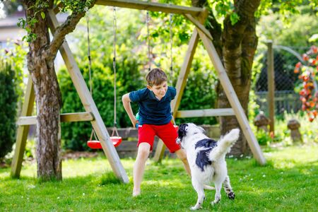 Active kid boy playing with family dog in garden. Laughing school child having fun with dog, with running and playing with ball. Happy family outdoors. Friendship between animal and kids