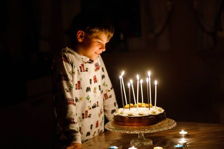 Adorable happy blond little kid boy celebrating his birthday. Child blowing candles on homemade baked cake, indoor. Birthday party for school children, family celebration 免版税图像