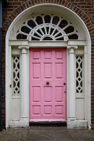 Colorful georgian doors in Dublin, Ireland. Historic doors in different colors painted as protest against English King George legal reign over the city of Dublin in Ireland.