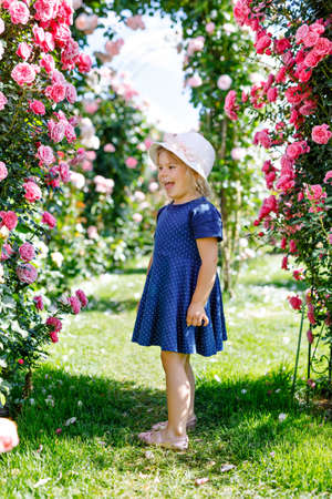 Portrait of little toddler girl in blossoming rose garden. Cute beautiful lovely child having fun with roses and flowers in a park on summer sunny day. Happy smiling baby. Foto de archivo