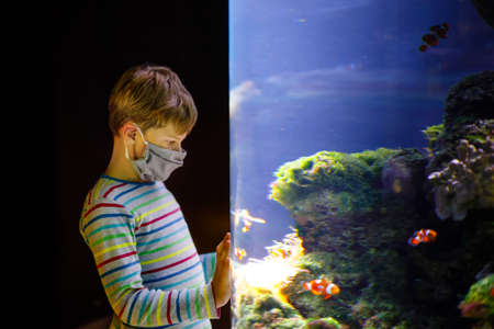 Kid boy wearing medical mask and visiting zoo aquarium. Happy baby child watching fishes and jellyfishes, corals. Fascinated child with deep sea wildlife. Family on staycation due corona virus time.