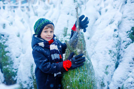 Funny little smiling kid boy holding christmas tree. Happy child in winter fashion clothes choosing and buying xmas tree in outdoor shop on snowy winter day. Family, tradition, celebration. Stock Photo
