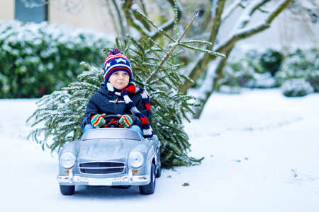 Funny little smiling kid boy driving toy car with Christmas tree.