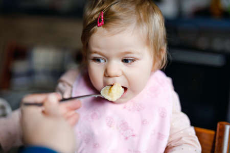 Adorable baby girl eating from spoon mashed vegetables and puree. food, child, feeding and people concept -cute toddler, daughter with spoon sitting in highchair and eating at home.