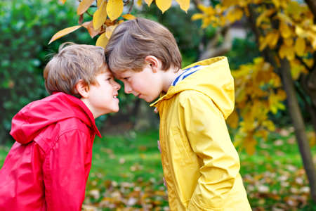 Two little best friends and kids boys autumn park in colorful clothes. Happy siblings children having fun in red and yellow rain coats and rubber boots. Family playing outdoors. active leisure.