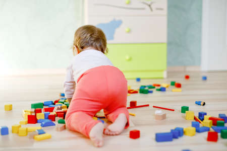 Cute baby girl playing with educational toys. Happy healthy child having fun with colorful different wooden blocks at home or nursery. Baby crawling, view from back, without face, unrecognizable