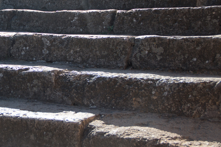 peloponissos: Old stone steps illuminated by the sun.