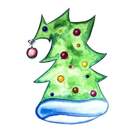 Watercolor drawing. Hat in the form of a decorated Christmas tree. Isolated on white
