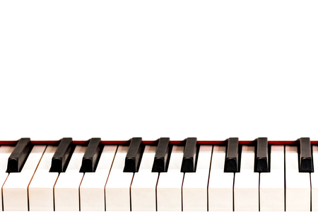 Octave black and white keys of a white grand piano. Space for the inscription. Design for a musical concept.