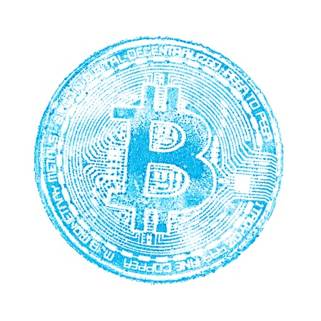 Macro. Light blue seal of bitcoin on white isolated background. Print on papers cryptocurrency for designers. Square frame.
