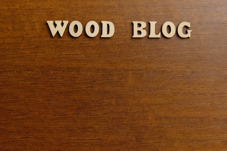 WOOD BLOG. An inscription made of wooden letters against the background of a dark brown wood. Copyspace.