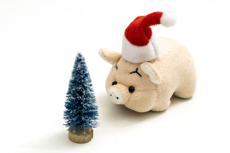 A souvenir pink pig or piggy bank in a red Santa Claus hat stands opposite a Christmas tree. Copy space. Shallow depth of field.