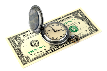 An old retro pocket watch with scratches lies on a one-dollar bill. The concept of time is money. Object for design on the theme of time management or advertising watch workshop. Isolated. 免版税图像