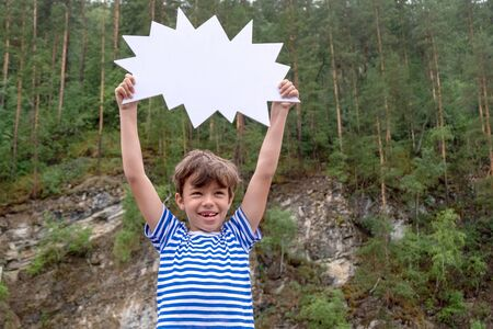 Template for advertising travel agencies, last minute trips, discounts and sales, travel and rest. Funny boy in a striped sailor t-shirt laughs and holds a white sign over his head. Mock up as a comic. Forest, mountains and river. Seasonal concept of sale clothes.