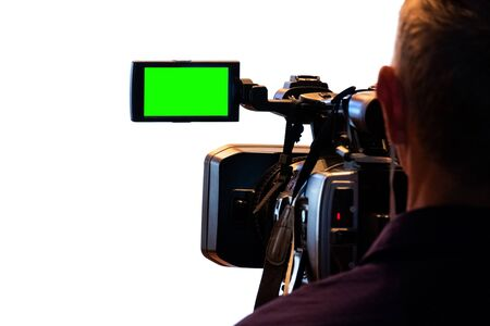 Green LCD display on high definition television camera. Videographer at work removes the story for the news. Template template for the design of information about the TV. Isolated on white background.