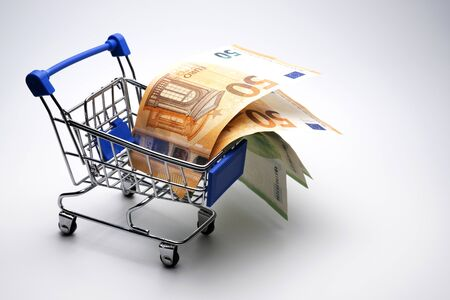 Banknotes of fifty and one hundred euros in a grocery cart for shopping. How much Europeans spend in supermarkets. The concept of a consumer basket in Europe, discounts, interest return. Template for black friday, cyber monday. Copy space.
