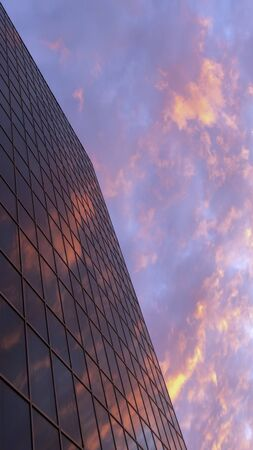 Abstract vertical evening urban background . The red sunset of the sky with clouds is reflected in the glass of a typical high-rise building. Beautiful geometric view with perspective. Imagens