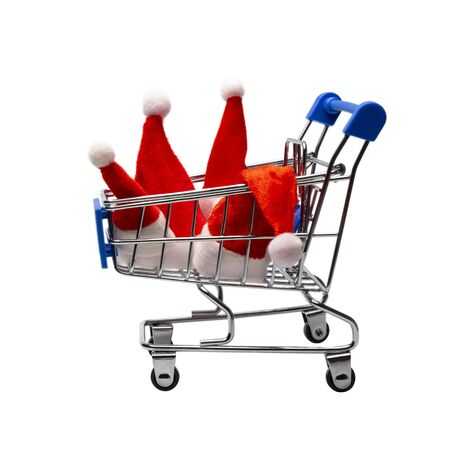 Family Christmas purchases or New Year group discounts at the supermarket or online store. Four Santa Claus hats in a shopping trolley. Consumer basket of winter holidays. Isolated. Object for advertising.