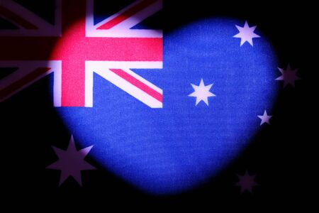 State symbol of Australia. Heart shaped flag for the design and illustration of relationships and feelings. The concept of love, patriotism and independence. Valentine's Day.