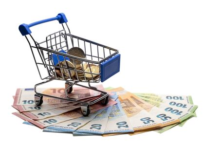 Banknotes 10,20,50,100 in the amount of 500 euros. Concept of a consumer basket with coins in Europe and spending money, discounts, interest return. Template for black friday, cyber monday. Isolated. Copy space.